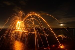 Photography and light painting near the water